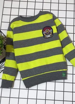 Детский шикарный свитер в полоску с эмблемой