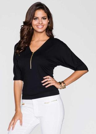 Летняя блуза кофта чёрная с замочком новая осень большой размер l m