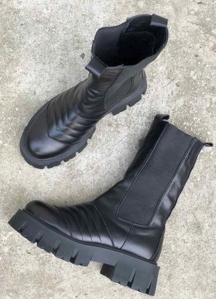 """Ботинки грубые женские натуральная кожа в стиле прада боттега """"армейские"""""""