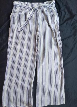 Лёгкие брюки палаццо в полоску new look