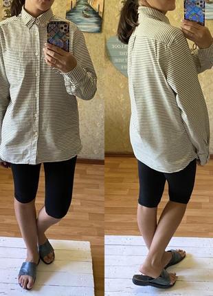 Хлопковая плотная рубашка оверсайз в полоску