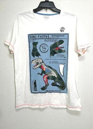 Подростковая коттоновая белая футболка с принтом динозавры, 14-15лет