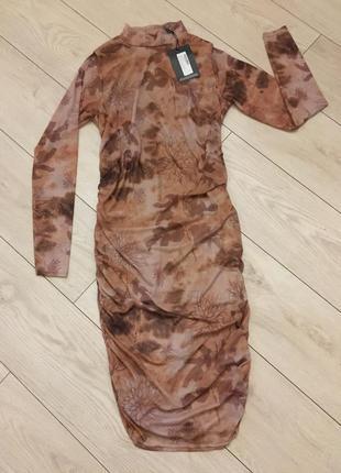 Платье сетка чулок миди нюдовое телесное сексуальное облегающее