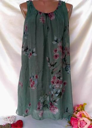Акция 1 +1=3🎁красивое вискозное воздушное платье цветы размер 10-12(40-42)