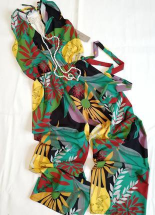 Яркий разноцветный комбинезон в цветы ромпер италия