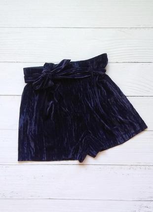 Велюровые шорты с поясом topshop