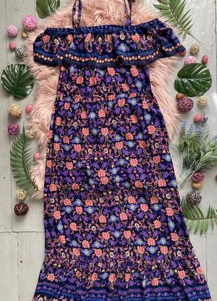 Актуальное макси платье с рюшей на плечах №187