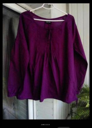 Натуральная коттоновая блуза большого размера батал