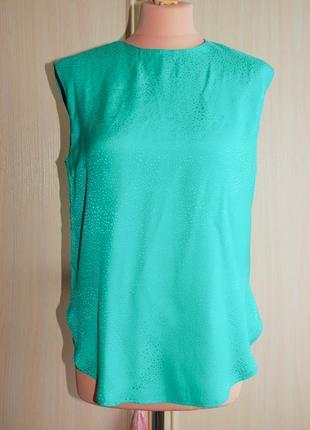 Шелковая летняя майка, блуза шелковая, зеленая, бирюзовая, натуральный шелк разлетайка