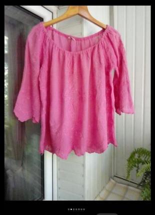 Итальянская хлопковая блуза большого размера батал