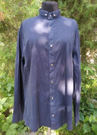 Рубашка синяя calvin klein классическая мужская строгая на заклёпках стильная