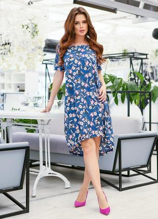 Синее асимметричное платье с цветочным принтом
