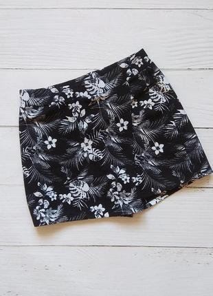 Шорты юбка цветочный принт