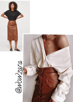 Невероятно стильная юбка карандаш из кожзама h&m