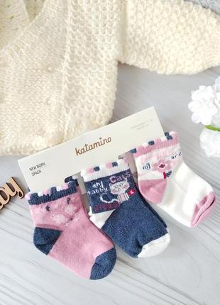 Набор разноцветных носков на девочку 0-6 мес. (3 пары), турция katamino