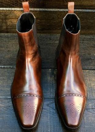 Ortigni. кожаные мужские осенние ботинки. челси. демисезонные.