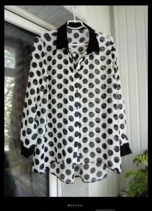Шифоновая блуза рубашка большого размера батал