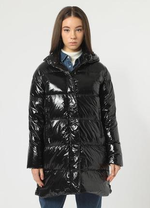Новый пуховик hox, италия куртка дутик парка на пуху чёрный глянец блестящий