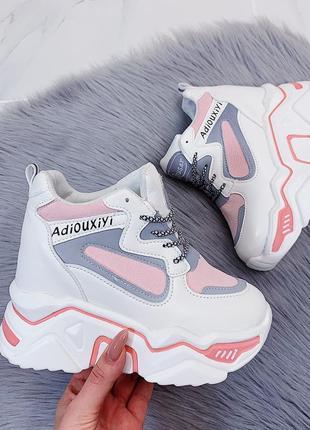 Новые женские белые с розовым и серым кроссовки сникерсы