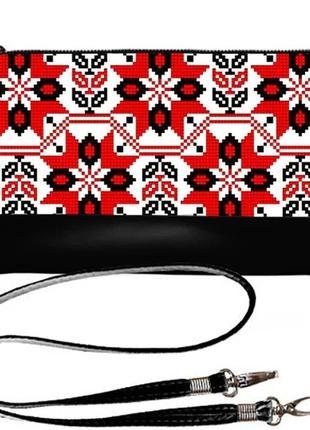 Стильный клатч принт украинская вышивка качественный