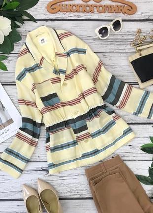Яркий летний пиджак в разноцветную полоску с кулиской на талии   jc1830141  h&m studi