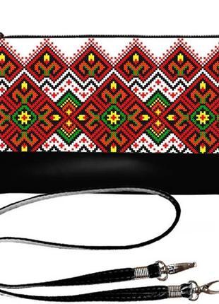 Клатч маленькая сумочка эко-кожа принт вышивка