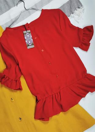 Красная блузка с пуговками на спинке в190008 дефект!!!  boohoo