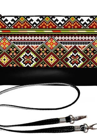 Роскошный клатч с принтом украинская вышивка