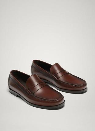 💥кожаные мужские лоферы ,туфли ,мокасины massimo dutti.