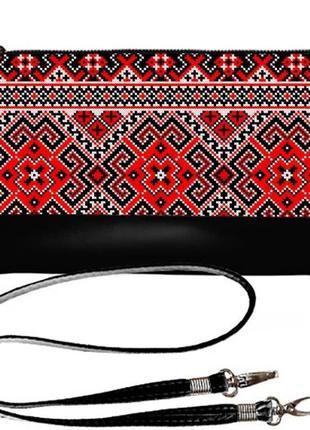 Качественный украинский клатч принт красная вышивка
