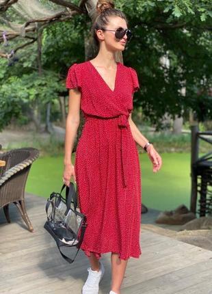 Платье кежуал в горох ,4 цвета, 42-50р