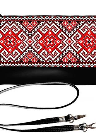 Черный клатч с красным принтом вышиванка