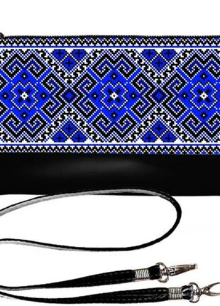 Черный клатч с синей вышивкой качественный принт