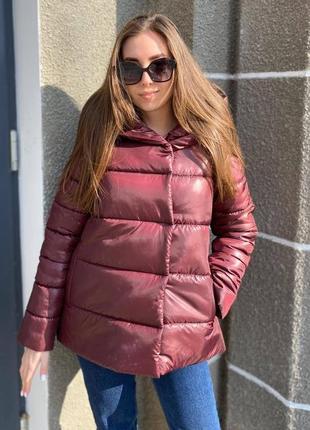 Бордовая свободная демисезонная (весенняя - осенняя) куртка для беременных