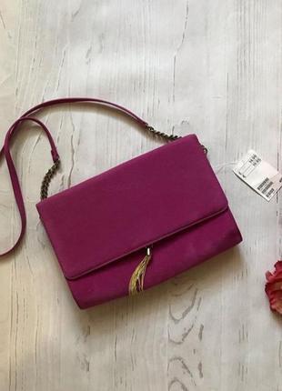 Новая бархатная яркая сумочка,клатч цвета фуксии h&m