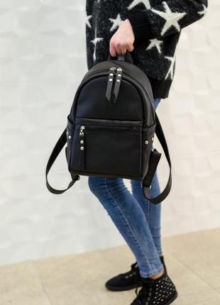 Школьный черный рюкзак из экокожи