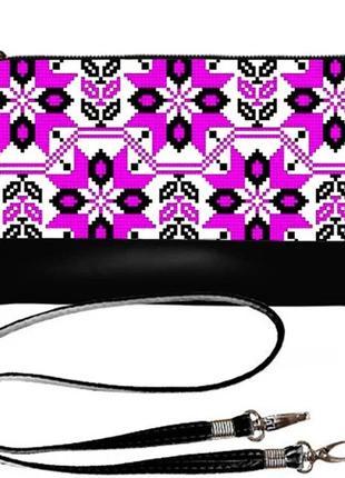 Клатч эффектный принт розовая вышивка украина
