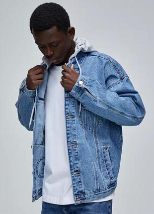Куртка джинсовая мужская в винтажном стиле оверсайз pull&bear xl-50 размер.