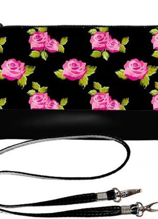Сумка клатч принт розы эко-кожа украина