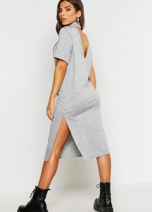 Boohoo. платье миди, лонгслив с вырезом на спине uk 8 новое