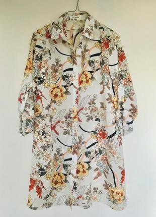 Яркое летнее платье-рубашка цветочный принт
