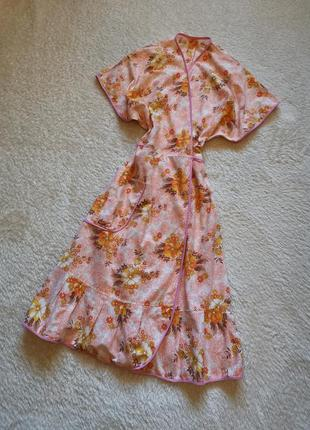 Платье миди халат на запах хлопок 100 % платье ретро винтаж