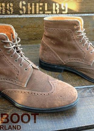Navyboot. замшевые мужские осенние ботинки. броги. кожаные ботинки