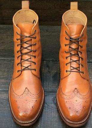 Crew. мужские кожаные осенние ботинки. броги. демисезонные ботинки