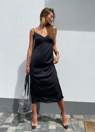 Черное шелковое платье комбинация, шелк армани
