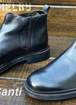 Roberto santi. мужские кожаные осенние ботинки. челси на замке.