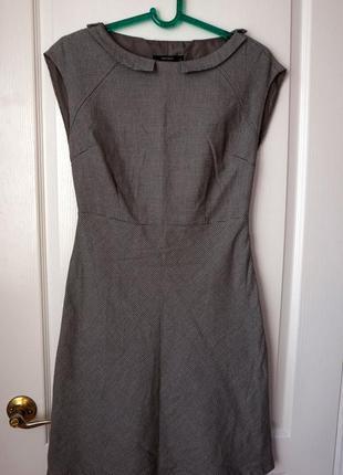 Классическое платье под поясок в мелкий горошек
