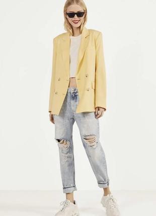 Пиджак блейзер двубортный лёгкий нежно желтый bershka оригинал жакет