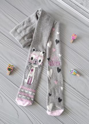 Серые колготы с котиком для девочки 3-4 года