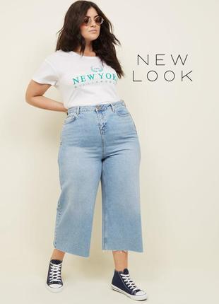 Стильные широкие прямые джинсы мом евро 52 / uk 20 new look curves